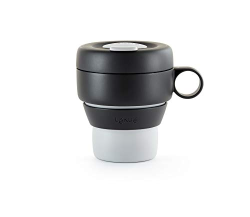 Lékué - Mug To Go, Taza plegable reutilizable, 100% hermética, 350 ml, Polipropileno, Gris