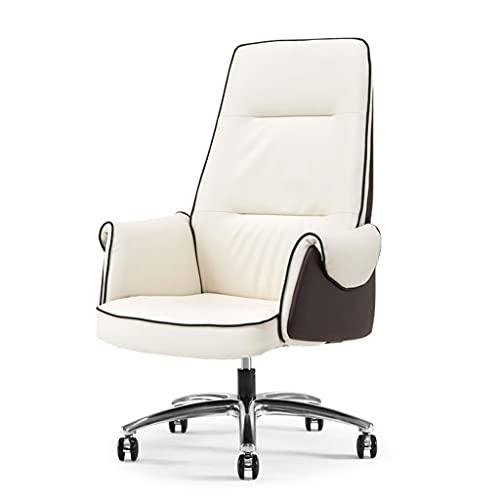 Silla de la computadora de Cuero, Silla de Oficina en el hogar, Silla de Oficina sedentaria cómoda Puede elevarse y bajarse, sillón de Respaldo Giratorio de 360 ° (Color : Beige)