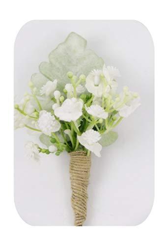 Hopereo Falso Plantas Verdes Corsages Novio Boutonniere Ojal Pin Brazalete Brazalete de Dama de honor Boda Pulsera de seda Corsage Flowers-F-Boutonniere