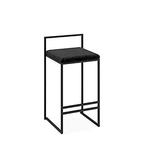 WRJ Bar stool bar kitchen furniture, designer furniture metal chair bar stool output creative high-performance kitchen Pub Reck stool upholstered seat,Black,76