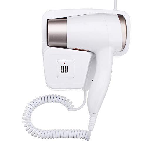 JSFAS Secador de pelo220V 1300W 2 modos Enchufe USB ajustable Tipo de colgante de pared Eléctrico Hotel Hogar Baño Secador de pelo Titular Salón Cabello, blanco
