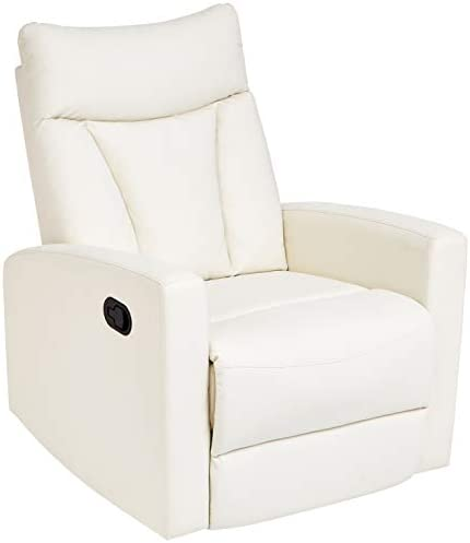 Best JC Home Javik Swivel Glide Recliner with Faux-Leather Upholstery, Creamy White
