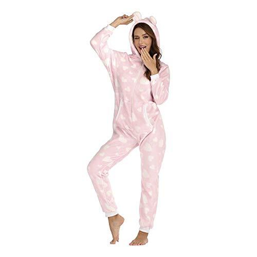 WANCHDP Mono de mujer de franela, mono de una pieza, pijama de entrenamiento, traje de cuerpo entero, con capucha y cremallera rosa S