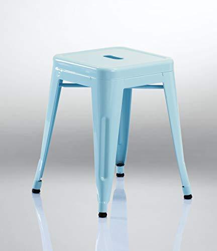Duhome Eisen/Metall Hocker Höhe 46 cm Arbeitshocker Stapelbar und Robust Industry Design Farbauswahl 665A, Farbe:Blau, Material:Metall