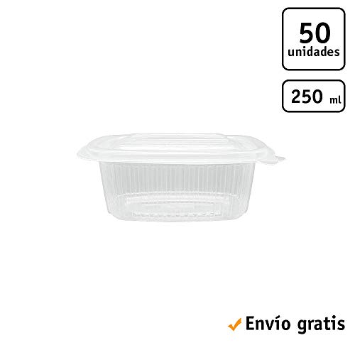 TELEVASO - 50 uds - Envase para Comida con Tapa bisagra Oval - Capacidad 250 ml - Polipropileno (PP) traslúcido - Contenedores Desechables con Tapa, Apto para microondas