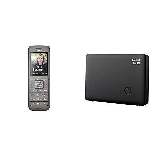 Gigaset CL660HX - DECT-Telefon schnurlos für Router - Fritzbox, Anthrazit-metallic & DECT Basisstation Box 100 für Ihr eigenes Kommunikationssystem mit Gigaset Mobilteilen, in schwarz