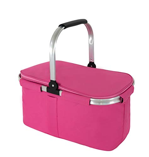 Premium Large Insulated Picnic Basket, 29L Leak Proof Collapsible Portable Cooler Basket Set with Aluminium Handle for Travel, Shopping, Camping,Attach with a Free Foldable Grocery Bag, Pink