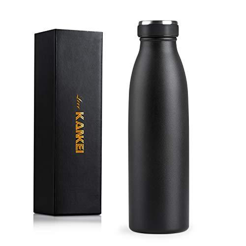 Love-KANKEI Bottiglia Termica 500ml Termos Bottiglia Nero con Doppio Isolamento e Senza BPA, Conserva Il Freddo 24 Ore e Il Caldo 12 Ore, Borraccia per Scuola Sport Yoga Palestra