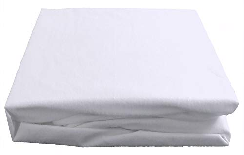 Luxury fitted breathable waterproof brushed cotton mattress protector, Double bed size. 135 x 190 x 32cms