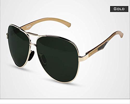 LKVNHP Neue Art UndWeise DerQualitäts -Aluminium Magnesium Männer Polarisierte Sonnenbrillen Herren Sonnenbrillen Für Männer Brillen Zubehör Gafas Oculos De SolGold -