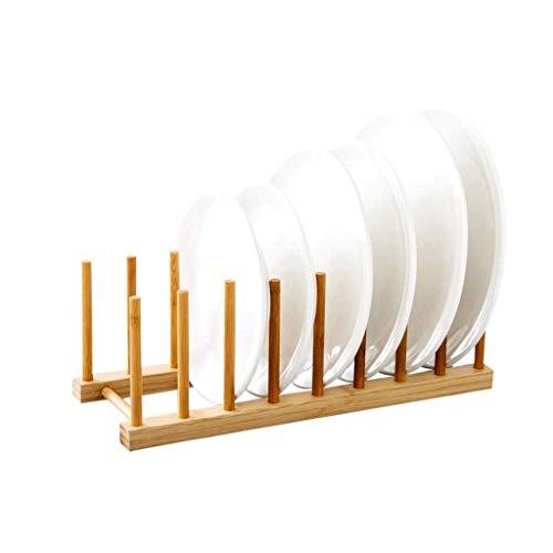 WALNUTA Cocina de Drenaje Rack - Bambú Secado del Plato Estante de sequía del Plato Plegable Estante Plegable Cocina escurreplatos con Doble Niveles
