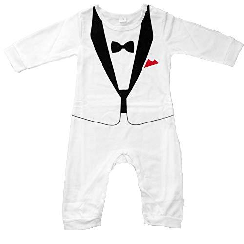 Baby Strampler Smoking für Jungen - Anzug mit Fliege (Größe 80, weiß)