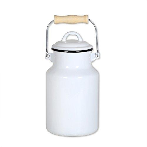 Krüger Milchkanne 4 Liter mit Deckel und Tragegriff, Emaille weiß