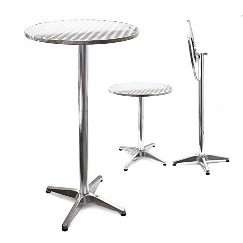 Mesa de bar Bistro Aluminio Plegable Altura regulable 74/114cm Ø60cm Exterior Terraza Hostelería 🔥