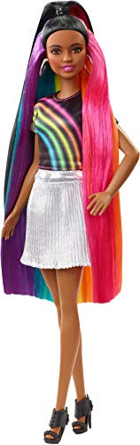 Barbie Rainbow Sparkle Hair Doll Featuring Extra-Long 7.5-Inch Brunette Hair with A Hidden Rainbow of Five Colors, Sparkle Gel and Comb and Hairstyling Accessories, Gift for 5 to 7 Year Olds