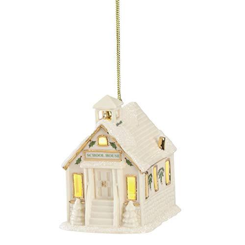 Lenox Christmas Village Schoolhouse Lighted Ornament, 0.50 LB, Ivory
