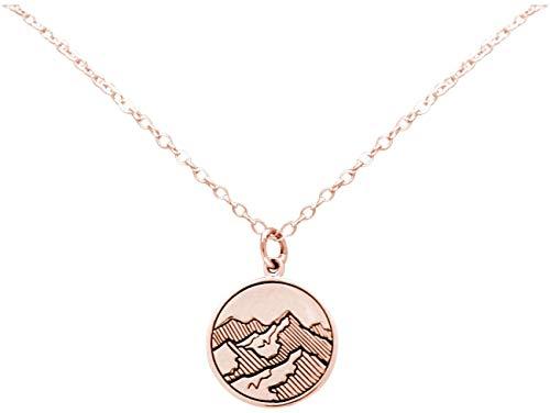 Gemshine Alpin Berg Halskette in 925 Silber, hochwertig vergoldet oder rose. Sportschmuck - Made in Madrid, Spain, Metall Farbe:Silber rose vergoldet