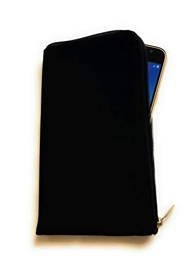 gtsk Reissverschluss Handy Tasche schwarz inkl. Handschlaufe geeignet für LG K51s - Soft Case Etui Schutz Hülle