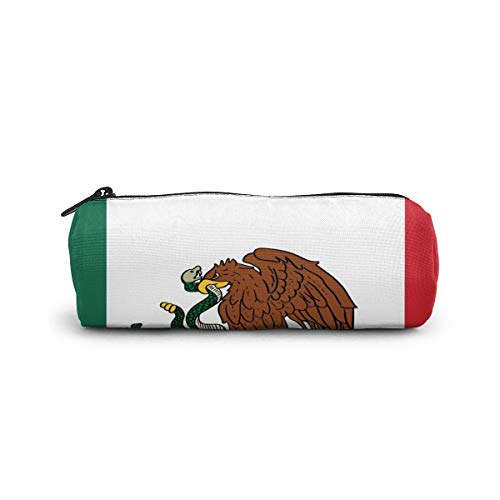 Cylinder Cosmetic Bag Hand Drawn Mexican Flag Background Pencil Case Small