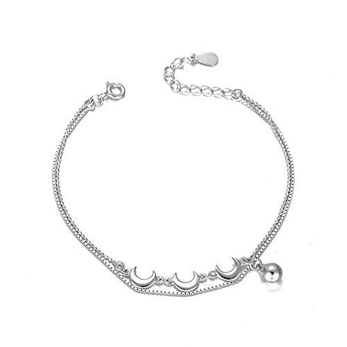 1 pulsera para mujer en forma de luna de plata de ley 925 con bonita campana