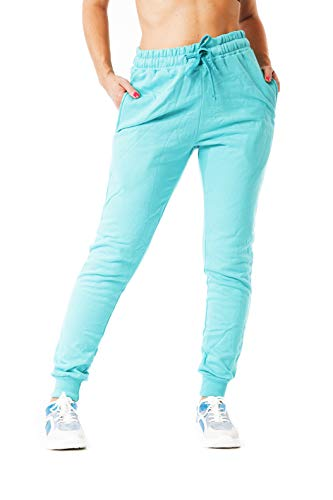 MATKA Damen | Jogginghose | Trainingshose | Sport Fitness | Gym | Training | Jogger Leggings | Einfarbig | Jogging-Hose | Stripe Pants | Modell 5000C Mint Türkis XL