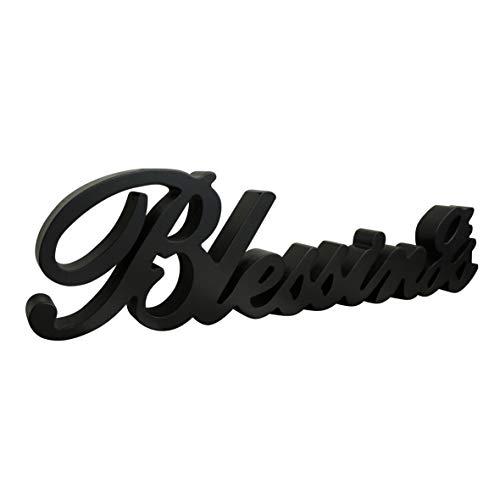 CVHOMEDECO. Panneau en bois noir mat avec inscription « Blessings » sur pied pour bureau/table/étagère/mur de maison/festival 40,6 x 10,2 x 2,5 cm