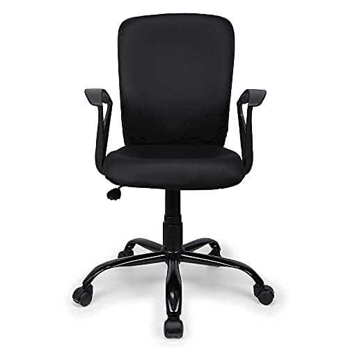 FURNICOM CHAIRS™ Armo Mid Back Ergonomic Office Computer Study Chair Fabric Metal Base (Standard Black)