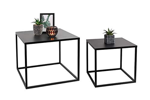 LIFA LIVING Schwarze Couchtische 2er-Set, Niedrige stapelbare Beistelltische im modernen Design, Wohnzimmertische aus Metall, kubische Form