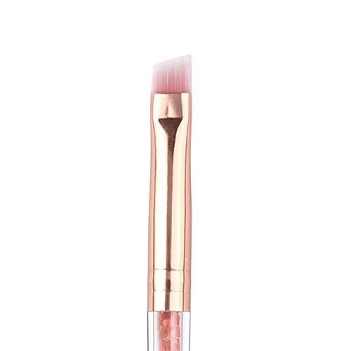 LSWL Professionnel Bevel Brosse Sourcils rose/or de haute qualité Pinceau angulaire Sourcils pinceau de maquillage acrylique strass yeux Pinceau (Color : Pink)