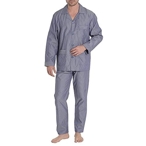 El Búho Nocturno - Pijama Hombre Largo Solapa Popelín Rayas Premium The Gentlemen's Choice Marino Talla 4 (L) Azul-Rayas-Marino 100% algodón