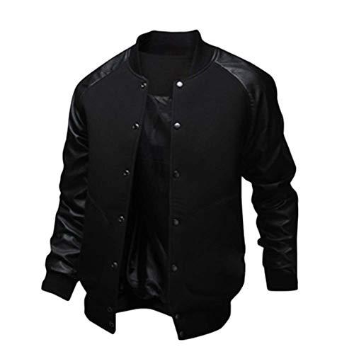 GladiolusA Herren Varsity Jacket Bomberjacke Baseballjacken Übergangsjacke University College Langarm Outwear Mäntel Jacket Schwarz S
