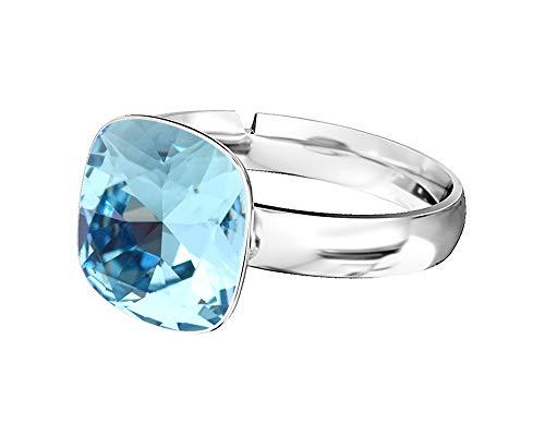 Crystals & Stones 925 Silber Ring *SQUARE* *VIELE FARBEN* Swarovski Elements - 925 Sterling Silber Damen Ring Größe Verstellbar (Aquamarine)