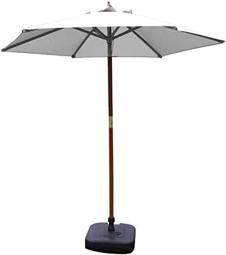 WENYAO Sombrillas de jardín Sombrillas de jardín Sombrilla Sombrilla de 7 pies Sombrilla de Mesa de jardín al Aire Libre, Sombrilla de Piscina de Camping con Soporte de Madera Maciza (Color: Blanco