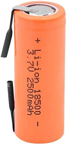 18500 batería de Iones de Litio 3,7 v 2500 mah celda de Iones de Litio con 2 pestañas de Soldadura para Linterna Led 4 Piezas-1 Piezas