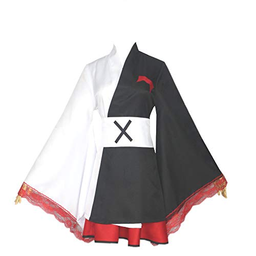 Deciduous Trajes Danganronpa Monokuma Cosplay Los Delantales Kimono japonés Hembra Vestidos de Halloween Animado Juego de Roles de Halloween Partido del Carnaval,Negro,S
