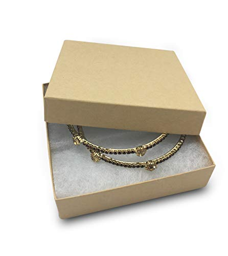 """TheDisplayGuys 100-Pack #33 Cotton Filled Cardboard Paper Jewelry Box Gift Case - Kraft Brown (3 1/2"""" x 3 1/2"""" x 1"""")"""