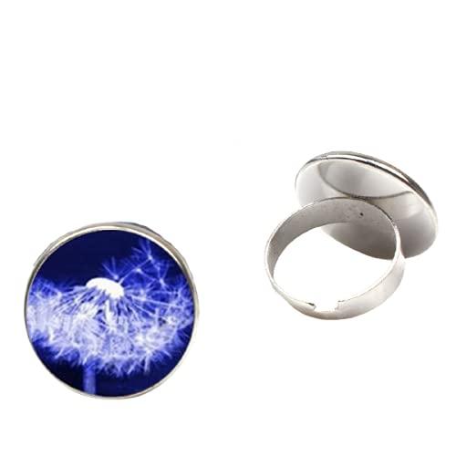 Nuevo anillo de diente de león de la vendimia hecho a mano redondo de cristal cúpula de diente de león semilla círculo al por mayor encanto hombres y mujeres regalos recuerdo
