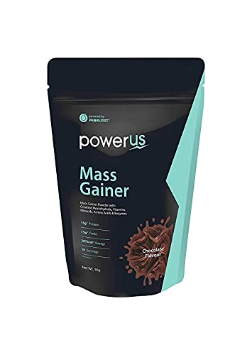 Powerus Mass Gainer 1kg (Chocolate), 15g Protein, 75g Carbs, 387 Kcal Energy, 10 Servings