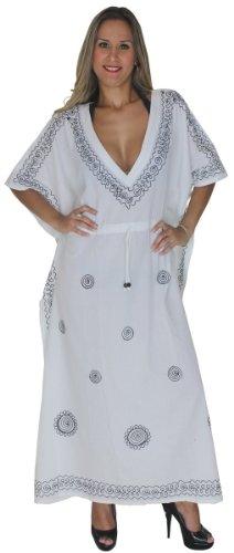 LA LEELA Frauen Damen Rayon Kaftan Tunika Bestickt Kimono freie Größe Lange Maxi Party Kleid für Loungewear Urlaub Nachtwäsche Strand jeden Tag Kleider Weiß_P278