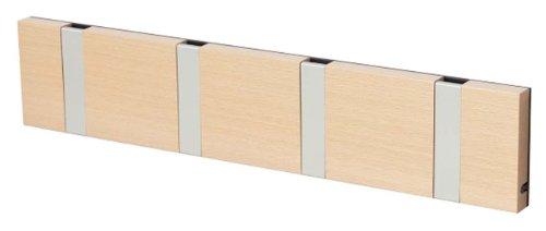 LoCa Garderobe Knax 4 Buche geölt (Haken klappbar Alu) Garderoben-Leiste Kleiderhaken Flur modern Garderobenpaneel