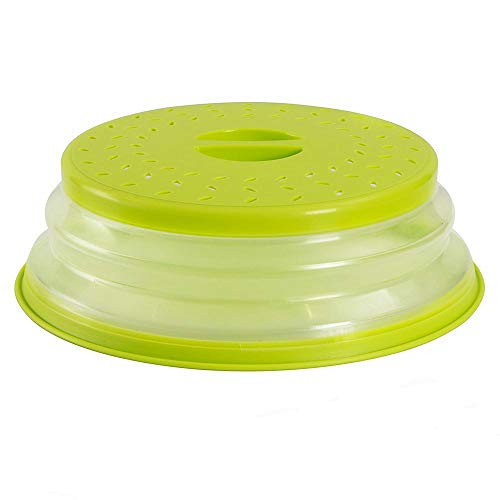 Klappbare Mikrowellenabdeckung, Faltbare Mikrowellenabdeckhaube klappbar, für Mikrowellenteller, verhindert Spritzen, auch als Obstfilterkorb, BPA-frei