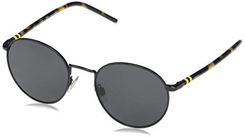 Polo Ralph Lauren Ph3133 Óculos de sol masculinos, Preto brilhante/cinza escuro, 51 mm