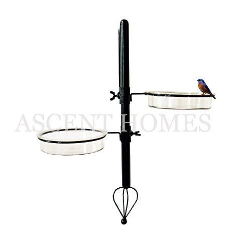 Ascent Homes Wall Mount Metal Bird Feeding Bath Station (Black, 8x6. 2x20)