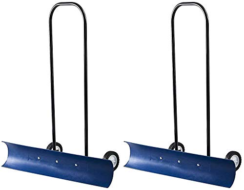 The Snowcaster 30SNC 36-Inch Bi-Directional Wheeled Snow Pusher, Blue...