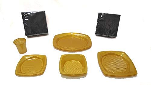 Scelta – Piatti di plastica monouso e riciclabili, confezione da 145 pezzi dorati (20 bicchieri, 18 ciotole, 10 vassoi, 25 piatti, 72 tovaglioli neri) – Compleanno, feste, picnic, bambini, neonati.