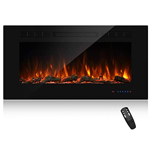 Masarflame 42' Recessed Electric Fireplace Insert, 5 Flame Settings, Log Set or Crystal Options,...