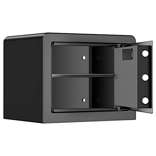 Azmkoo Security Home Safe Lock Box, Steel Safe Box, Black - 0.77 Cubic Feet