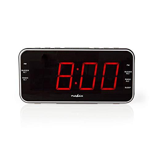 Nedis Radio Reloj Despertador Digital Nedis - Radiodespertador Digital - Pantalla LED de 1,8 - FM - 20 Presintonías - Función de Retardo de Alarma - Negro Negro 1.20 m