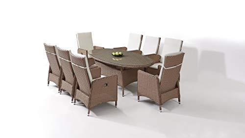 Talfa Doona 8 - Juego de muebles de jardín (ratán sintético, ovalado)