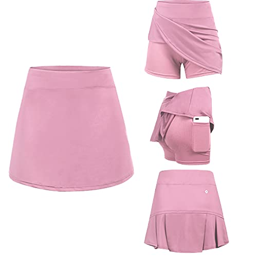 Jupe courte pour femme - Culottes de tennis - Yoga - Avec pantalon intérieur - Poches - Jupe de sport - Pour femmes et filles - Pour le sport, Rose, S
